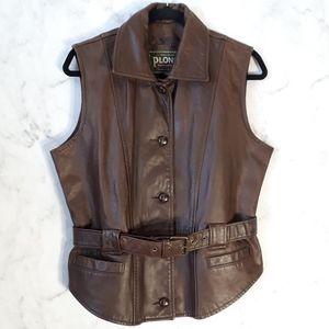 Vintage Brown Leather Buttoned & Belted Vest Large
